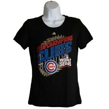 Womens Majestic Chicago Cubs 2016 Champions Black Shirt Top Size M Medium