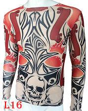 Skull series Tattoo long sleeve T-Shirt for Men Elastic suitable for sport F