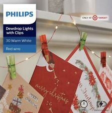 Philips 30ct Christmas LED Dewdrop String Lights Battery Operated w/clips Red