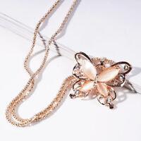 Schmetterling Gold Halskette Rose Opal Anhänger Kette Pullover Jewelry Schmuck