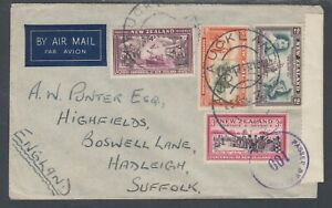 New Zealand Sc 232/240 on 1941 Censored Air Mail Cover to England