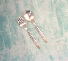 Toddler Fork & Spoon-Community Silverplate-Morning Rose