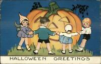 Halloween - Whitney Children Dance Around Giant JOL c1910 Postcard