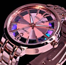 Excellanc Damen Armband Uhr Regenbogen Farben Rosegold Farben Streifen STR3