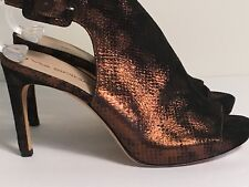 VIA SPIGA Bronze Black Snake Fabric SlingBack Heels Size 6 Women's Open Toe