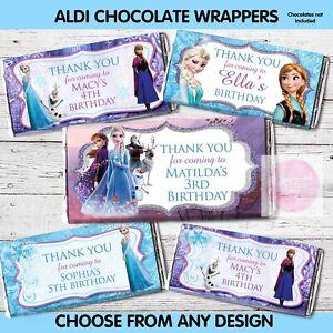 PRINTED or DIGITAL Frozen Anna Elsa CHOC WRAPPER ALDI BIRTHDAY PARTY FAVOUR