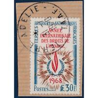 TAAF N°_27 ANNÉE INTERNATIONALE DROITS DE L'HOMME, TIMBRE DE 1968 OBLITERE EN 19