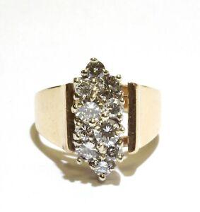 14k yellow gold 1.01ct diamond cluster ring 4.8g vintage estate womens 5