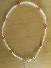 White bead and red crystal anklet/ankle bracelet summer beach funky