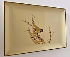 Otagiri Japan Lacquerware Trinket Tray Chickadee in Pussywillows Vintage