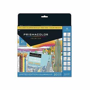 PRISMACOLOR PREMIER PENCILS COLORING BOOK KIT, NEW YORK CITY, 21 PIECES