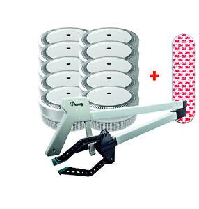 Jeising Mini Rauchmelder silber  10er Set mit Magnetpad,VDS + 3 Finger Greifer©