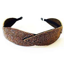 USA Handmade Headband Rhinestone Crystal Hairband Hairpin Bling Fashion Brown 3
