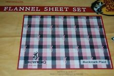 Flannel Queen Browning Buckmark Plaid Sheet Set Pink 4pc Country Rustic Cabin