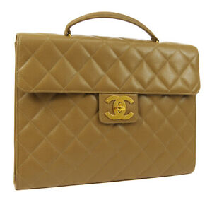 CHANEL Quilted CC Briefcase Business Hand Bag Caviar Leather 3613793 AK41780