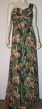 TED BAKER Maxi Dress 5 US 10 12 Green Tulip Long  Shirred Top 1 Shoulder