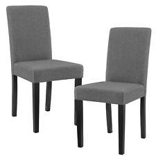 [en.casa] 2x design chaises tissu gris foncé dossier haut Salle à manger