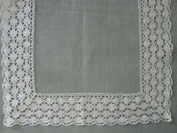 French Antique Edging Table Runner Tablecloth Bobbin Lace Linen Puy en Velay