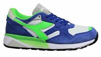 Diadora N9002 Blue White Green Leather Lace Up Mens Running Trainers C3940