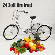 """24"""" Dreirad für Erwachsene 6 Gänge 3 Rad Fahrrad Einkauf Fahrrad mit Korb&Licht"""