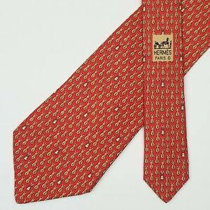 HERMES TIE 7900 MA Rabbit on Red Classic Silk Necktie