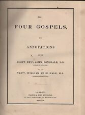 """BISHOP LONSDALE & ARCHDEACON HALE - """"THE FOUR GOSPELS, WITH ANNOTATIONS"""" (1849)"""