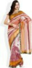 Printed Net Synthetic Designer Saree with zari, stitched falls & blouse NEW