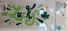 """NEW """"LUCKY"""" Green Clovers Shamrocks Diamonds Window Stickers Gel Clings 22 ct"""