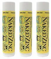 The Naked Bee Non-Nano Zinc Lip Balm Sunscreen SPF 15 - 0.15 Ounce Pack of 3