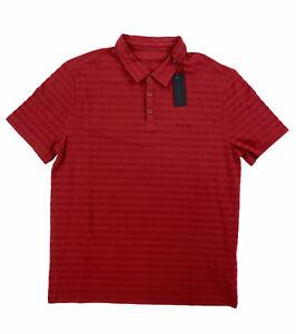 NEW John Varvatos U.S.A Texture Short Sleeve Striped Polo Shirt Red Mens Size M