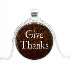 GIVE THANKS Tibet silver Glass dome Necklace chain Pendant Wholesale