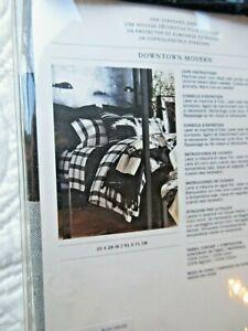 RALPH LAUREN HUDSON STD SHAM DOWNTOWN MODERN BLACK CREAM PLAID NWT 20X28 $115