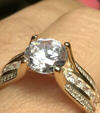 14k SOLID 3 carat RING yellow Gold round engagement Manmad Diamond 7 6 8 9