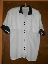 vintage / retro Audriana white and black blouse sz M