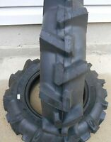 TWO 5.00-12 R-1 LUG Compact-Tractor Tires Heavy Duty 6 Ply Rated w Tubes