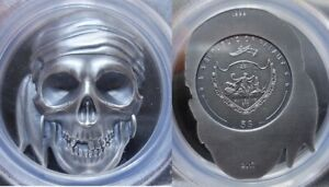 2017 $5 Republic of Palau Pirate Skull Antique Finished Silver Coin PCGS MS 69
