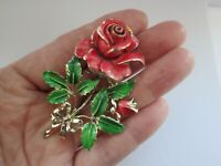 Vintage Signed Exquisite Enamel Flower Of The Month Birthday Series Brooch Pin