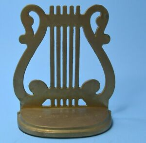 vtg Solid Brass Bookend  Harp ENGRAVED Life is a Song God's Love is the music