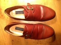 MEN'S CAP TOE MONK STRAP SHOES IN BRITISH TAN  BY NORDSTROM SIZE 9 EE