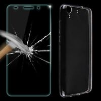 Ultra Thin Clear Gel TPU Case Cover+Tempered Glass Screen Protector For Huawei