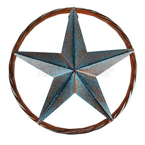 "8"" Barn Star Rust Turquoise Silver Tin Metal Rope Ring Texas Plaque Wall Decor"
