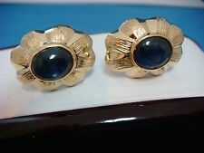 18K GOLD CUFF LINKS UNIQUE WITH STAR SAPPHIRES 15.4 GR GENUINE SAPPHIRES 8.5X7MM