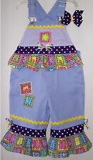 Custom boutique Little girls capri length overalls size XS (4-5) One-of-a-kind