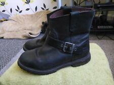 Women's Genuine Timberland Biker  Black Leather Boots Size UK 6 .