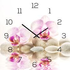 Horloge murale en verre 30x30cm Montre comme Chronographe vitrifiable Rose