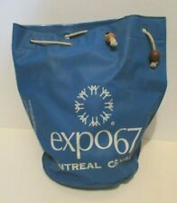 "VINTAGE 1967 MONTREAL CANADA EXPO '67 FAIR VINYL TOTE BAG ROUND DRAWSTRING 11"" T"