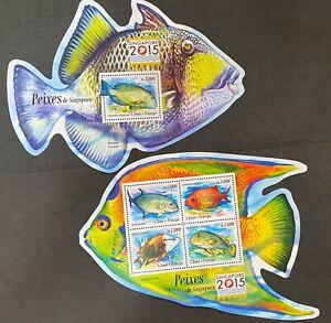 S. TOME & PRINCIPE Singapore 2015 FISH FAUNA MARINE LIFE UM