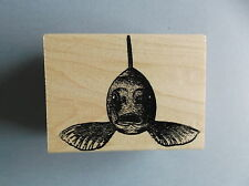 100 PROOF PRESS RUBBER STAMPS FISH FACE NEW wood STAMP