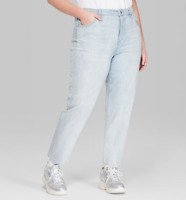 Wild Fable Women's Plus size High Rise Light Washed Distressed Mom Jeans NWT