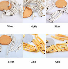 100pcs Silver/Gold/Nickel/ Smooth Curved Tube Spacer Beads  For Jewelry